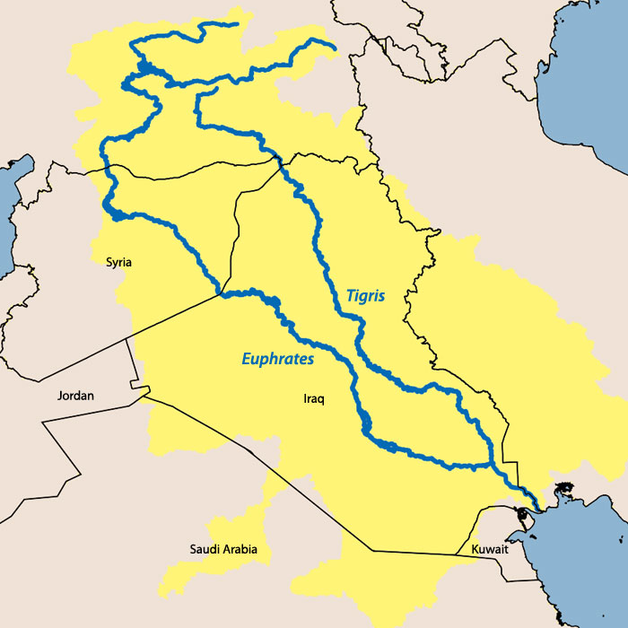 Euphrates River World Map Map of the tigris-euphratesTigris River On World Map